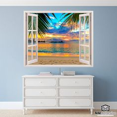 Wall mural Sunset on the beach. Under a few palm trees we observe a single film. Poster Xxl, Window Wall, Palm Trees, Wall Stickers, Beautiful Homes, Art Gallery, Windows, Wallpapers, Sunset