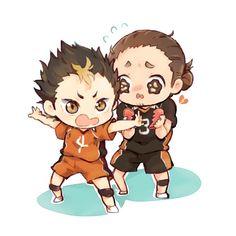 Cuties!! Asahi (glass heart and shy) x Nishinoya (self confident and brave)