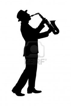 A silhouette of a full length portrait of a man in a suit playing on saxophone isolated against background Stock Photo