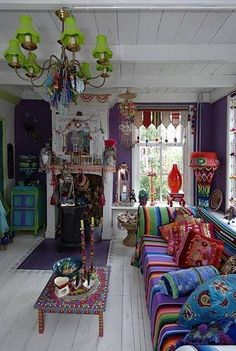 Bohemian, and I can see this working in an outdoor space, or a guest quarters! Bold and fun, without being too fussy!! I would still like to see this with a better wall color, maybe mauve or gray?
