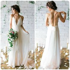 Look at this simple deep v-neck ivory wedding dress!! ... and backless!! This Bride has definitely chosen well!