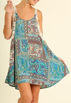 This Summer dress is fantastic. Perfect to throw on for beach day or just hanging out. Racer back with gorgeous lace.perfect for Summer. It's length from the top of the shoulder to the hem is approx. Casual Street Style, Cotton Dresses, Casual Wear, Fashion Dresses, Cover Up, Teal, Style Inspiration, Summer Dresses, Lace