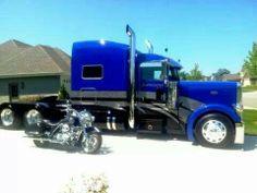 Blue Peterbilt 379- n-  a harley davidson