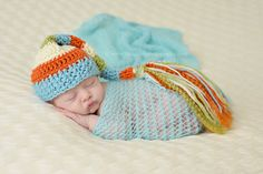 Blue Tint Mohair Knit Baby Wrap