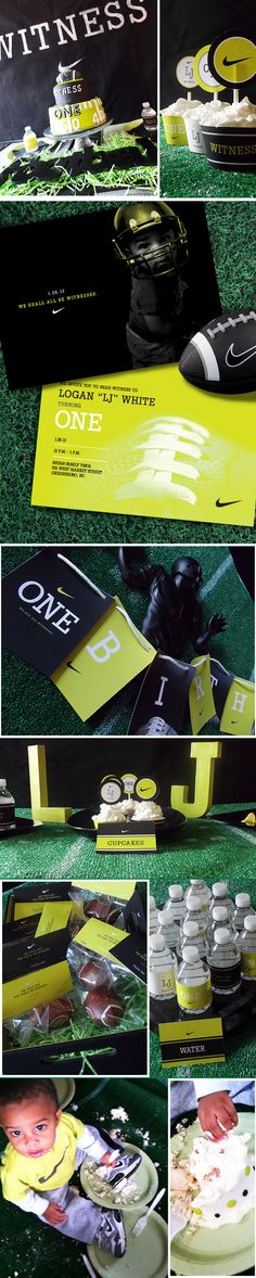 Logan's First Birthday - Nike Witness - Boy Birthday - Black and Yellow - Event Design - Graphic Design - Nike - Football - Party Planning