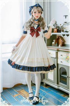 IchigoMiko -Ballad By The River Seine- Sailor Style Lolita OP Dress,Lolita Dresses, Lolita Cosplay, Cosplay Dress, Sailor Fashion, Lolita Fashion, Quirky Fashion, Cute Fashion, Harajuku Fashion, Japan Fashion, Japanese Street Fashion