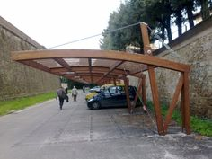 cantilevered steel pergola