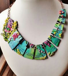 """Polymer clay,""""The Spring"""" from """"The 4 season"""" by Vivaldi, music necklace, handmade, hand engraving, unique, original design"""