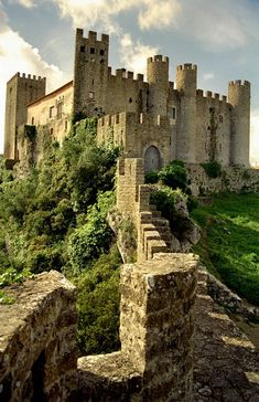 The castle and walk of Obidos in the Oeste Subergion in Portugal