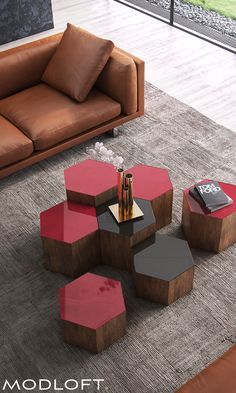 Versatile hexagon Centre occasional tables from Modloft offer great flexibility and design options for your living space. Available in our quick-ship program for immediate delivery.
