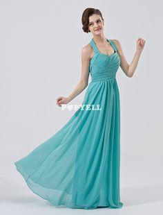 #robe #demoisellehonneur Robe demoiselle d'honneur A-ligne verte forêt en chiffon et satin mat à licou
