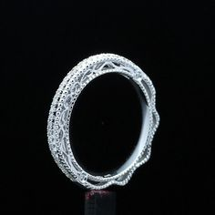 FILIGREE VINTAGE BAND DIAMOND SOLID 10K WHITE GOLD ENGAGEMENT MILGRAIN FINE RING #Unbranded #WithDiamonds