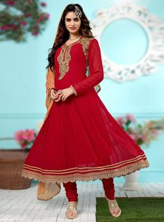 Red Georgette Anarkali Suit 90933