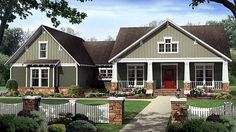 House Plan 59207 | Bungalow   Craftsman    Plan with 2199 Sq. Ft., 4 Bedrooms, 3 Bathrooms, 2 Car Garage