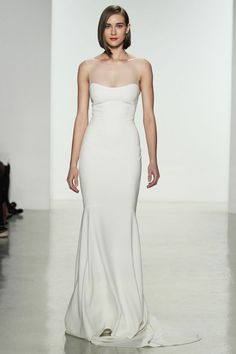 A sleek gown with illusion neckline from Amsale's new Spring 2015 collection.