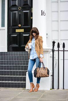 Camel Blazer, skinny jeans, denim shirt, leopard print bag, tan lace up heels Double denim look with tan accessories