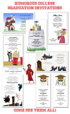 Humorous College #Graduation Party Invitations