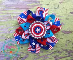 Super hero Captain America inspired   Loopy by ElliesHappinessBows