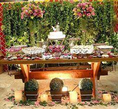 mesas de bolo de casamento rustico