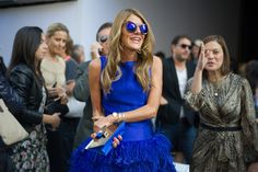 Anna Dello Russo in blue  Street look  of #Fashion Week