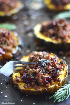 Cranberry & Beef Stuffed Acorn Squash (Paleo/Whole30 with AIP options)