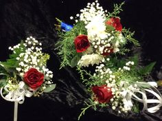 Red rose simple and sweet package. Includes bridal bouquet, 2 bridesmaids and grooms boutonniere for $75 Bridesmaid Bouquet, Wedding Bouquets, Bridesmaids, Wedding Flowers, Wedding Flower Packages, Groomsmen Boutonniere, Flower Packaging, Flower Making, Red Roses