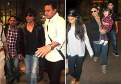 shahrukh khan return to home with family,ShahRukh Khan Bollywood star & his wife Gauri returned to Mumbai after prolonged New Year celebration in Dubai.