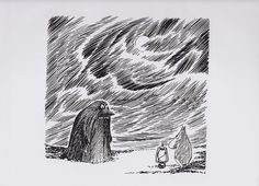 Moomin Poster Groke and Moomintroll by Tove Jansson. Beautiful illustration!