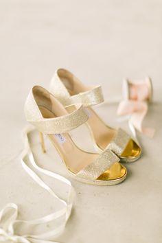 #gold, #fashion  Photography: Mustard Seed Photography - www.mustardseedphoto.com Brides Shoes: Jimmy Choo - www.jimmychoo.com