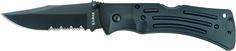 "KA-BAR 3051 All Black Combo Edge MULE Folding Knif Weight: 0.45                                Overall length: 9 1/8"" Blade Length: 3 7/8""                  Blade Shape: Clip Point Blade Stamp: KA-BAR              Steel: AUS 8A SS                      Grind: Hollow                              HRC Rating: 57-59CR Handle:  Black Zytel                   Serrated: Yes Lock: Lockback                           Knife comes with a black Nylon belt sheath & reversible belt clip. www.tomarskabars.com"