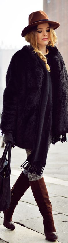 Black and Brown fur coat high boots handbag fall outfit street style women fashion clothing