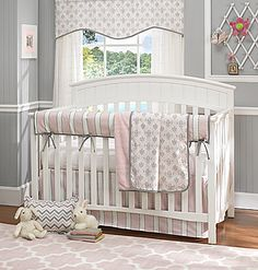 Bella Pink 4 C Baby Bedding Set By Liz And Roo Gray Damask Stripe Chevron With Rail Cover