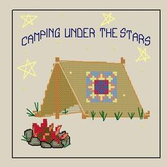 Camping under the Stars Quilted tent Counted by SapphireStitching