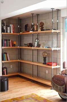 La Brea Furniture Store Mortise & Tenon in Los Angeles Featuring Handmade Custom Designs from Reclaimed Wood Tables to Interior Design - Home Projects We Love Diy Casa, Built In Bookcase, Bookcases, Custom Bookshelves, Basement Flooring, Flooring Ideas, Basement Ceilings, Exposed Basement Ceiling, Concrete Basement Walls