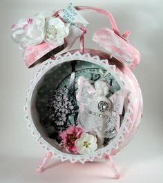 Tim Holtz's Assemblage Clock---love the pink and the retty lace around the opening