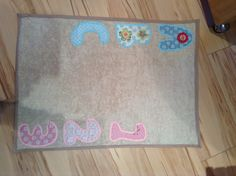Change mat. I used wipe clean fabric for the underneath and a towel for the top. I then added the letters and numbers in both blue and pink as I was unsure of the babies sex!