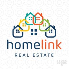Logo for sale: Clean and modern logo with connecting houses linked together to form a chain. The individual contacting homes create the impress of one home. Logo Real, Make Your Logo, Real Estate Logo, Social Media Design, Modern Logo, Business Cards, Logo Design, Templates, Logos