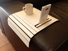 Laser cut wood Arm Rest Table with cell phone by DigitalHandmade
