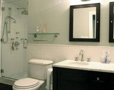 traditional bathroom by Rebekah Zaveloff- silver sage paint