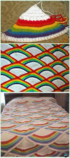 Crochet Fan Afghan Free Pattern - Crochet Rainbow Blanket Free Patterns