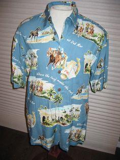 f9714f0d Details about Kahala Hawaiian Aloha Shirt Del Mar At the Races L USA Made Horses  Racing