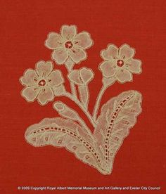 Honiton East Devon lace spray - This spray was made in East Devon (Honiton) lace by Elsie Luxton. The design is that of a primrose. As with many Victorian designs, inspiration for lace was often taken from nature. Designs often include different types of flowers and plants. This spray would eventually have been appliquéd on to net to make a veil or flounce. Royal Albert, Different Types Of Flowers, Museum, Lacemaking, Victorian Design, Antique Lace, Bobbin Lace, Devon, Veil
