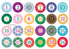 """These can be printed on sticker paper for super easy advent tags! I actually printed them out on card stock (resized them to 2"""" so I could use my punch) & laminated them so I could use them each year ~ Amber (btw, the link for the PDF doesn't work so just save the images in groups of 6 instead of the whole 24 image set if you want to make these 2"""")"""