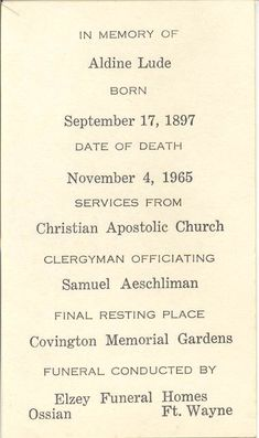 Funeral Card Collection at the Allen County Genealogical Society of Indiana. Funeral Cards, Family History, Genealogy, Indiana, Memories, Collection, Memoirs, Souvenirs, Remember This