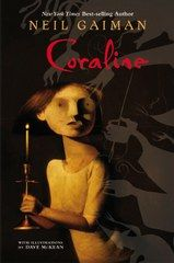 Coraline...we listened to this book on CD with Gaiman reading it.  It is easily the scariest book for older kids. Nothing like the movie.