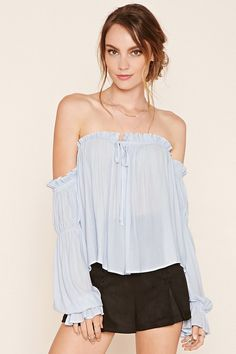 Forever 21 Contemporary - A woven top featuring an elasticized collar, long open-shoulder sleeves with elastic cuffs, a ruched pattern and a self-tie keyhole front.