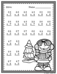 Need extra practice with multiplication? This set includes 10 pages of 2 digit by 1 digit multiplication with regrouping practice. An answer key for each page is included. Two Digit Multiplication, Multiplication Worksheets, 2nd Grade Math Worksheets, Elementary Math, Winter Theme, Math Lessons, Math Centers, In Kindergarten, Teaching Resources
