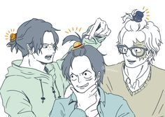 ASL Dork Brothers with their hats as hair ties ♡