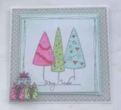 Christmas card using my fav Christmas colours .Stamps inkydoodles