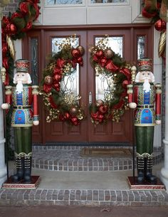 double door split wreath and nutcrackers